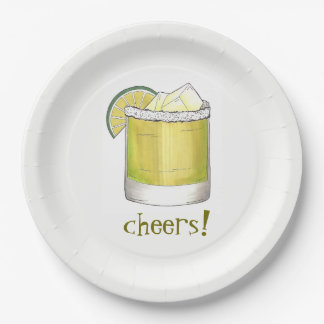 Cheers! Celebration Margarita Cocktail Party Decor Paper Plate