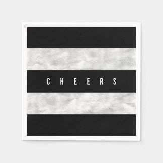 Cheers Chic Silver Foil Black Stripe Holiday Party Disposable Serviette
