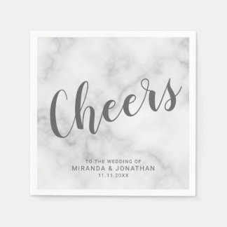 'Cheers' Classy Elegant Marble Wedding Disposable Serviette