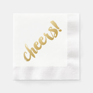 Cheers! Cocktail Napkins - Gold Disposable Napkins