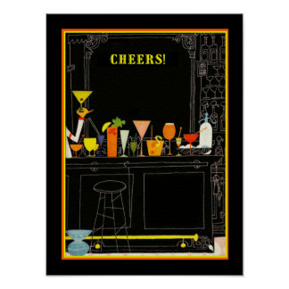 Cheers Cocktail Poster 12 x 16
