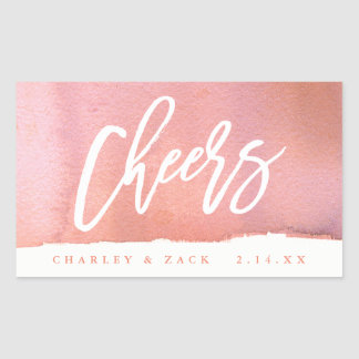 Cheers Coral Watercolor Mini Wine Champagne Label Rectangular Sticker