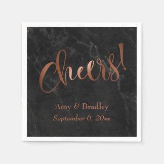 """Cheers!"" Faux Copper Script over Black Marble Paper Napkin"
