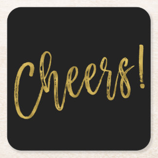 Cheers Faux Gold Foil and Black Drink Coasters