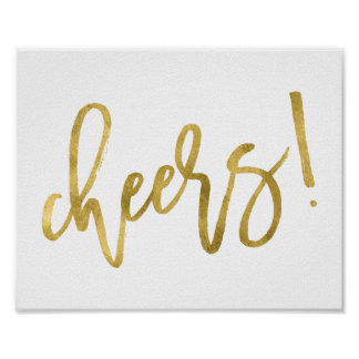 Cheers! | Faux Gold Foil Party Celebration Print