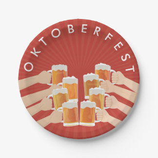 Cheers for Oktoberfest! Beers for Everyone! Paper Plate