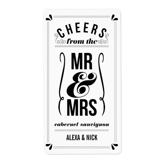 Cheers from the Mr & Mrs | ANY COLOR Wedding Wine Shipping Label