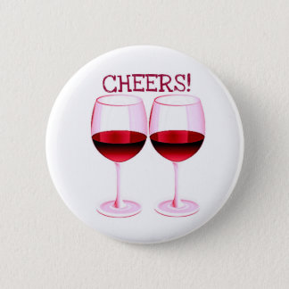 CHEERS! FUN PARTY RED WINE PRINT 6 CM ROUND BADGE