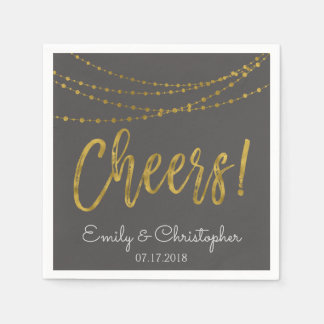 Cheers Gold Foil String Lights and Charcoal Grey Paper Napkin