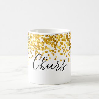 Cheers Gold Polka Dot Confetti Coffee Mug
