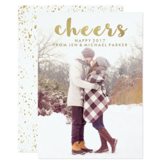Cheers Gold Typography Happy New Year with Photo 13 Cm X 18 Cm Invitation Card