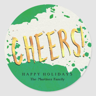 Cheers! Green and Gold Happy Holidays Classic Round Sticker