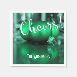 Cheers Green Christmas Ornaments Pic Holiday Party Disposable Napkin
