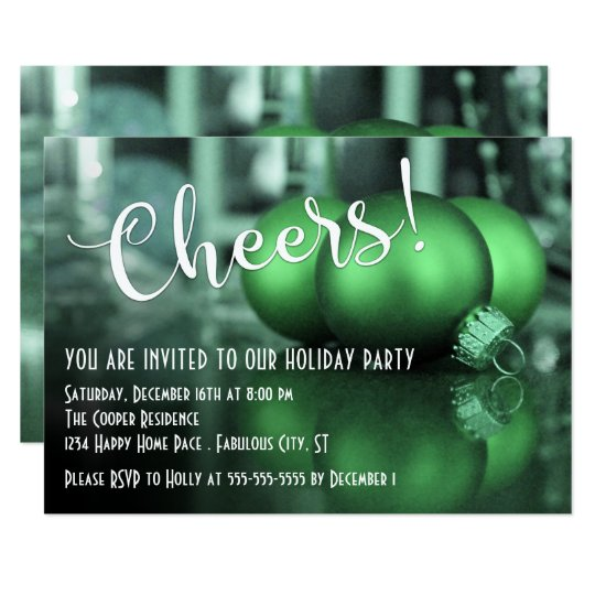 Cheers Green Ornaments Pic Holiday Party Card
