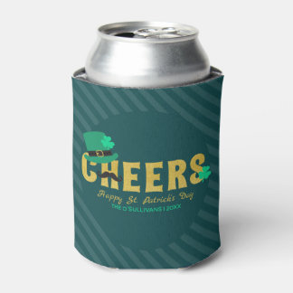 Cheers Leprechaun Hat & Shamrock St Patricks Day Can Cooler