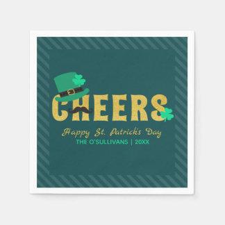 Cheers Leprechaun Hat & Shamrock St Patricks Day Paper Napkin