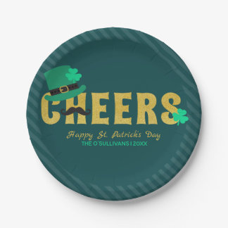 Cheers Leprechaun Hat & Shamrock St Patricks Day Paper Plate