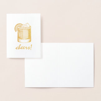 Cheers Margarita Cocktail Glass Celebrate Congrats Foil Card