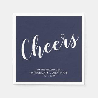 'Cheers' Modern Script Navy Blue Wedding Paper Napkin