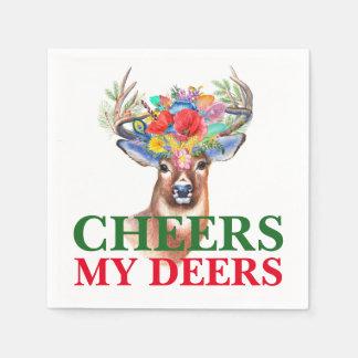 Cheers My Deers Deer with Flowers Disposable Serviettes