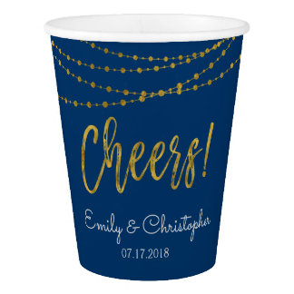Cheers Navy Blue and Gold Foil String Lights Paper Cup