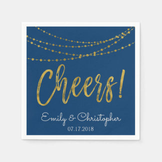 Cheers Navy Blue and Gold Foil String Lights Paper Serviettes