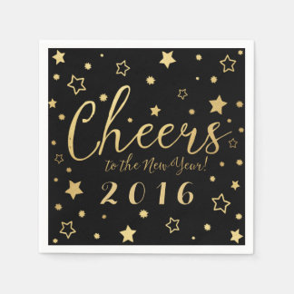 Cheers New Year's Eve Party Napkins / Black Disposable Napkin
