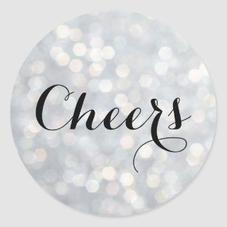 Cheers on Silver Champagne Bubbles Sticker