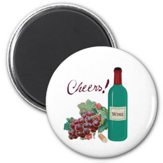 CHEERS! RED WINE AND GRAPES PRINT 6 CM ROUND MAGNET