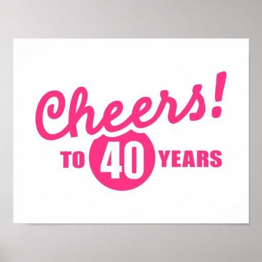 Cheers to 40 years birthday print