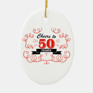 Cheers to 50 years ceramic ornament