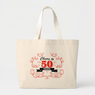Cheers to 50 years large tote bag