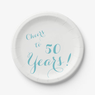 Cheers to 50 Years Paper Plates