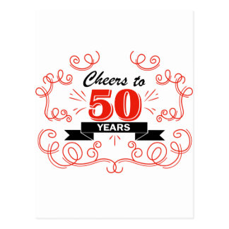 Cheers to 50 years postcard