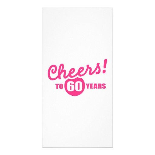 Cheers to 60 years birthday custom photo card