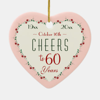 Cheers to 60th Wedding Anniversary Christmas Gifts Ceramic Ornament