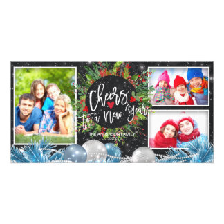 Cheers to A New Year Holiday Greeting Photo Card
