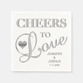 CHEERS TO LOVE Grey Silver Black White Wedding Disposable Serviette