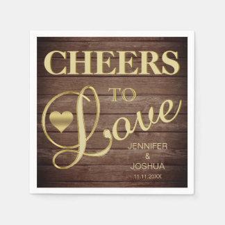 CHEERS TO LOVE Rustic Barnwood Heart Gold Wedding Paper Napkins