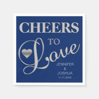 CHEERS TO LOVE Silver Navy Blue Nautical Wedding Paper Napkin