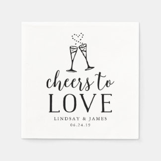 Cheers to Love Wedding Cocktail Disposable Napkins