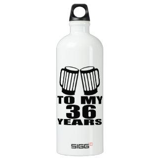Cheers To My 36 Years Birthday Water Bottle