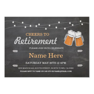 Cheers to Retirement Party Chalk Beers Invitation
