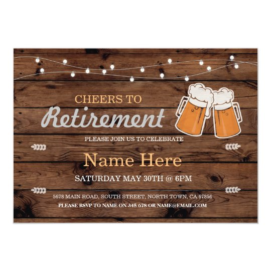 Cheers to Retirement Party Wood Beers Invitation