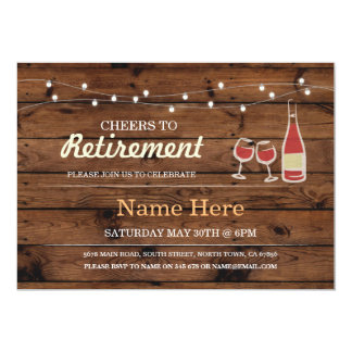 Cheers to Retirement Party Wood Wine Invitation