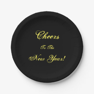 Cheers to the New Year! Black Paper Party Plates