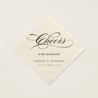 Cheers To the Newlyweds Typography Script Wedding Disposable Serviette