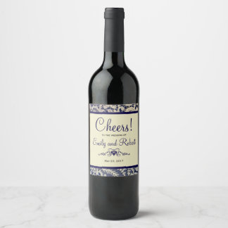 Cheers to the Wedding Ivory Lace Royal Navy Blue Wine Label