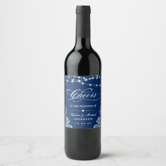 Cheers To The Wedding Navy Blue String Lights Lace Wine Label