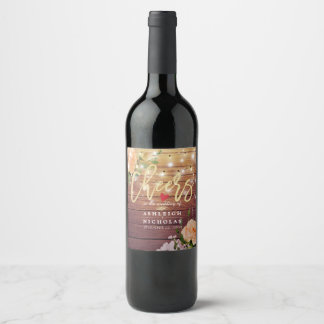 Cheers To The Wedding Wood Floral String Lights Wine Label